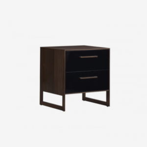 Tulip Rio Nightstand in Walnut and Glossy Black