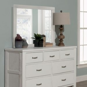 Kenwood 7 Drawer Double Dresser and Mirror in Distressed White
