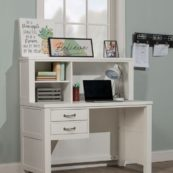 Kenwood Collection Desk with Hutch in Distressed White
