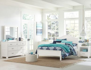 Kenwood Curved Top Bed in Distressed White Full Size