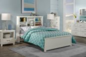 Kenwood Full Size Bookcase Bed in Distressed White