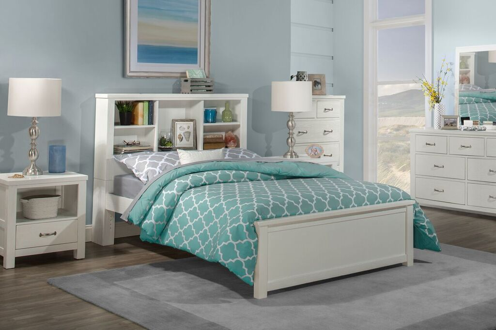 Kenwood Bookcase Bed In Distressed White