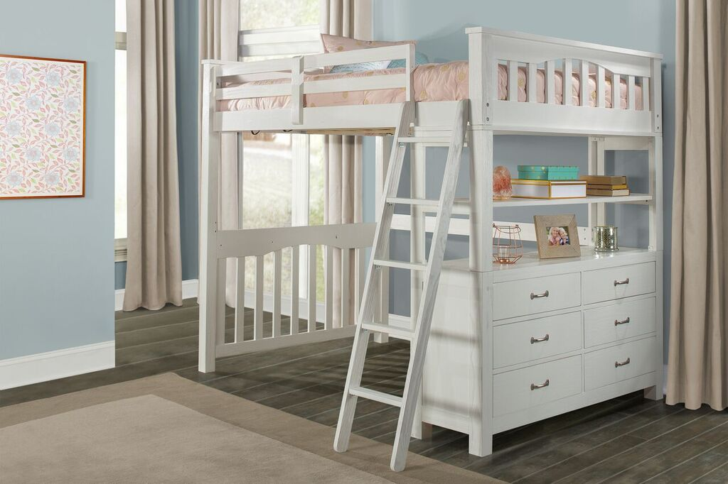 Kenwood Full Size Loft Bed in Distressed White