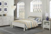 Kenwood Panel Full Size Bed in Distressed White