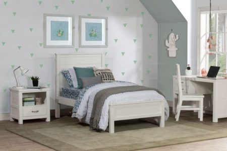 Kenwood Panel Twin Size Bed in Distressed White