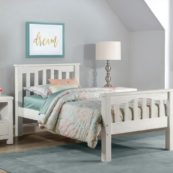Kenwood Slatted Twin Size Bed in Distressed White
