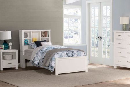 Kenwood Twin Size Bookcase Bed in Distressed White