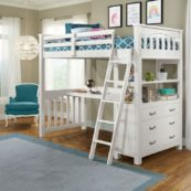 Kenwood Twin Size Loft Bed in Distressed White
