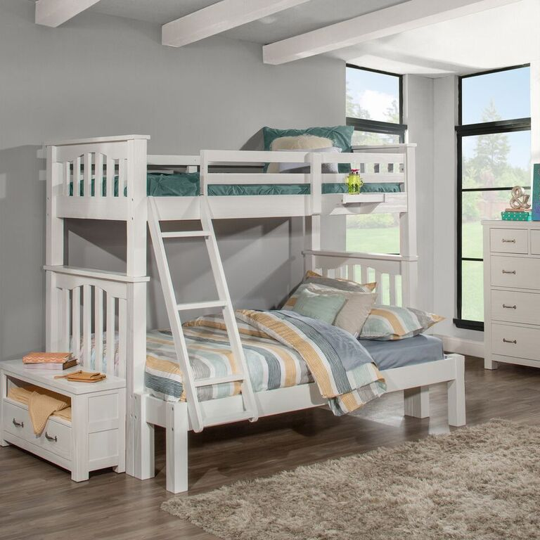 Kenwood Collection Twin over Full Bunk Bed in Distressed White