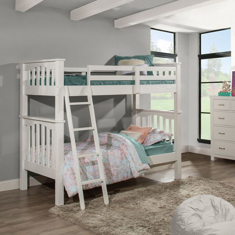 Kenwood Twin over Twin Bunk Bed in Distressed White