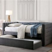 Suzy Twin Size Daybed with Trundle in Grey