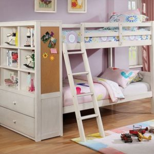 Adena Twin over Twin Bookcase Bunk Bed in White