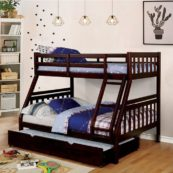 Emmy Mission Style Twin over Full Bunk Bed in Dark Walnut