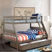 Emmy Mission Style Twin over Full Bunk Bed with Trundle in Driftwood