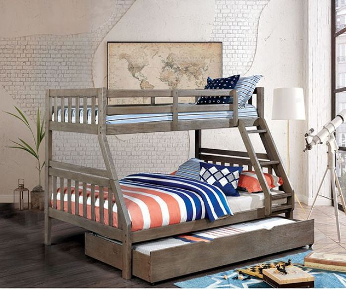 Boat Bed With Trundle And Toy Box Storage: Emmy Mission Style Twin Over Full Bunk Bed In Driftwood