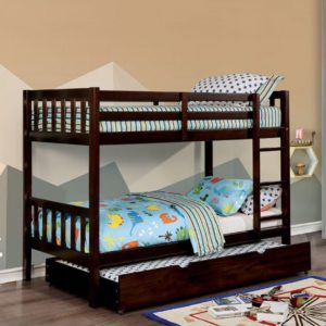 Emmy Mission Style Twin over Twin Bunk Bed in Dark Walnut