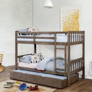 Emmy Mission Style Twin over Twin Bunk Bed with Trundle in Driftwood