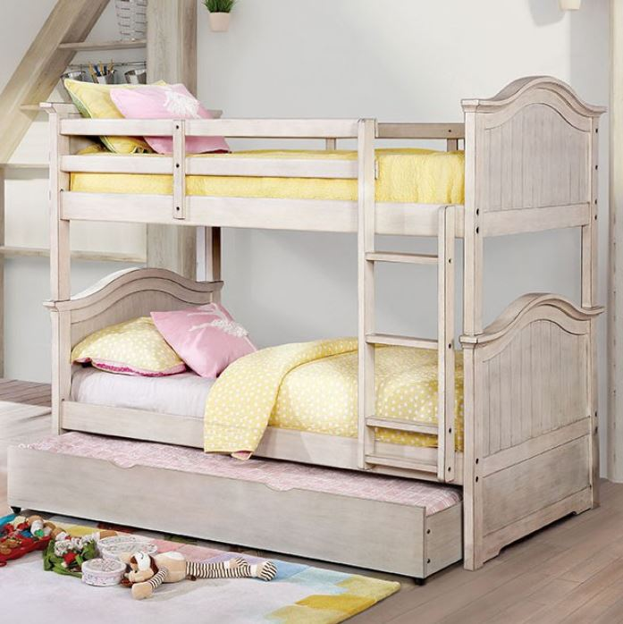 Hermione Twin over Twin Bunk Bed in Washed White
