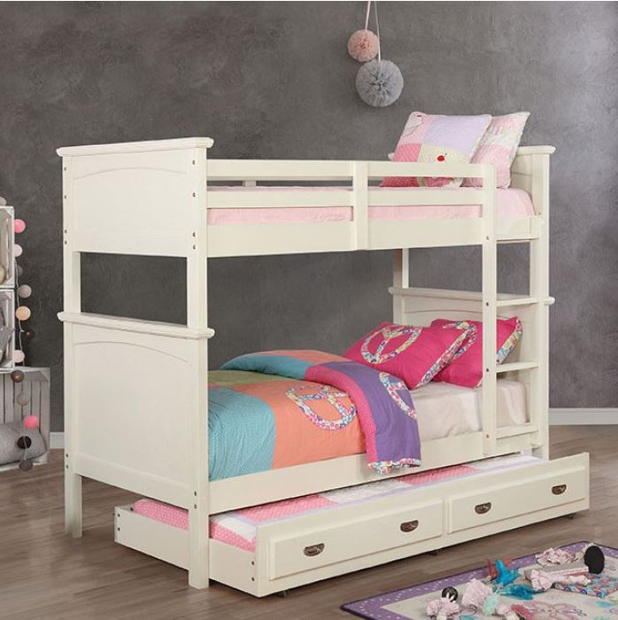 Maci Collection Twin over Twin Bunk Bed in White
