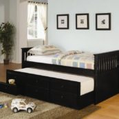 Mission Style Twin Size Captains Bed with Storage Trundle in Black