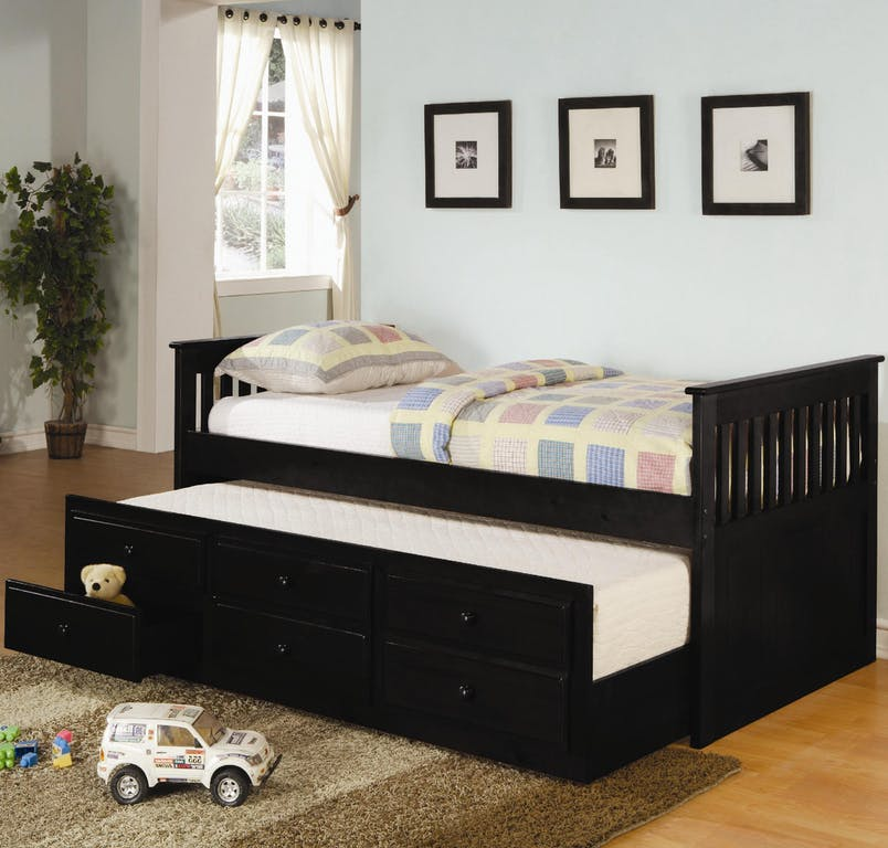 Mission Style Twin Size Captains Bed With Storage Trundle