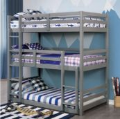 Moonlight Triple Twin Bunk Bed in Gray