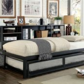 Debbie Undustrial Metal Daybed with Trundle in Sand Black Picture 2