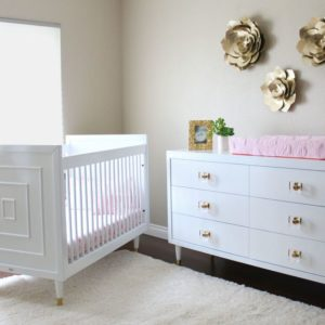 Uptown Crib and Double Dresser in White