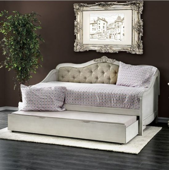 Bellina Twin Size Tufted Daybed in Antique White