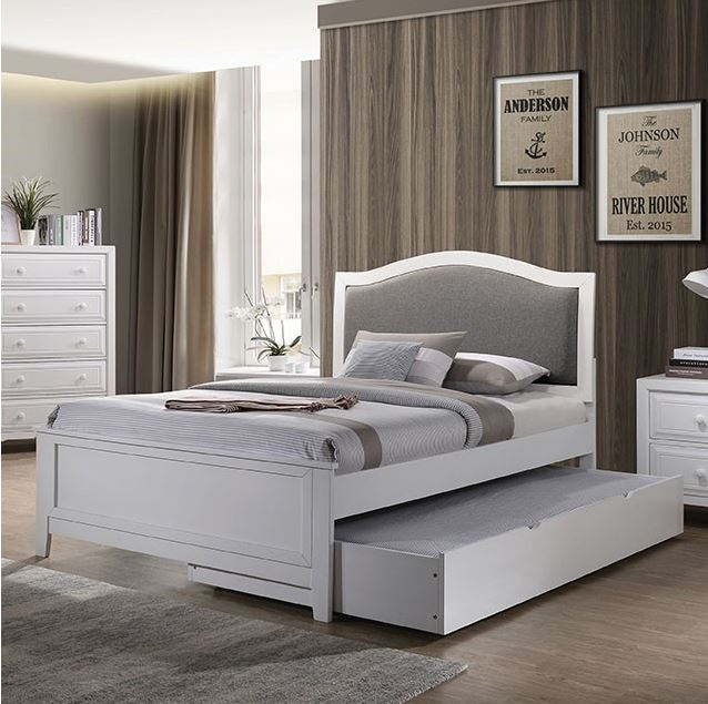 Kristine Twin Size Upholstered Bed in White