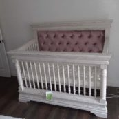 Kerri Custom Tufted Crib in Rustic White