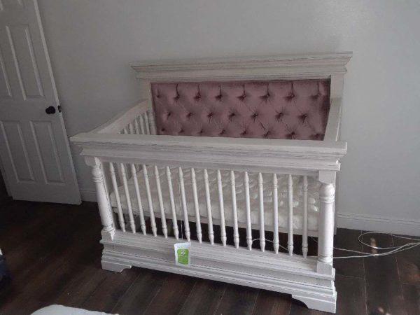 Kerri Custom Tufted Crib in Rustic White