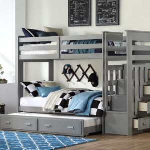 Georgetown Bunk Bed with Trundle and Staircase in Grey