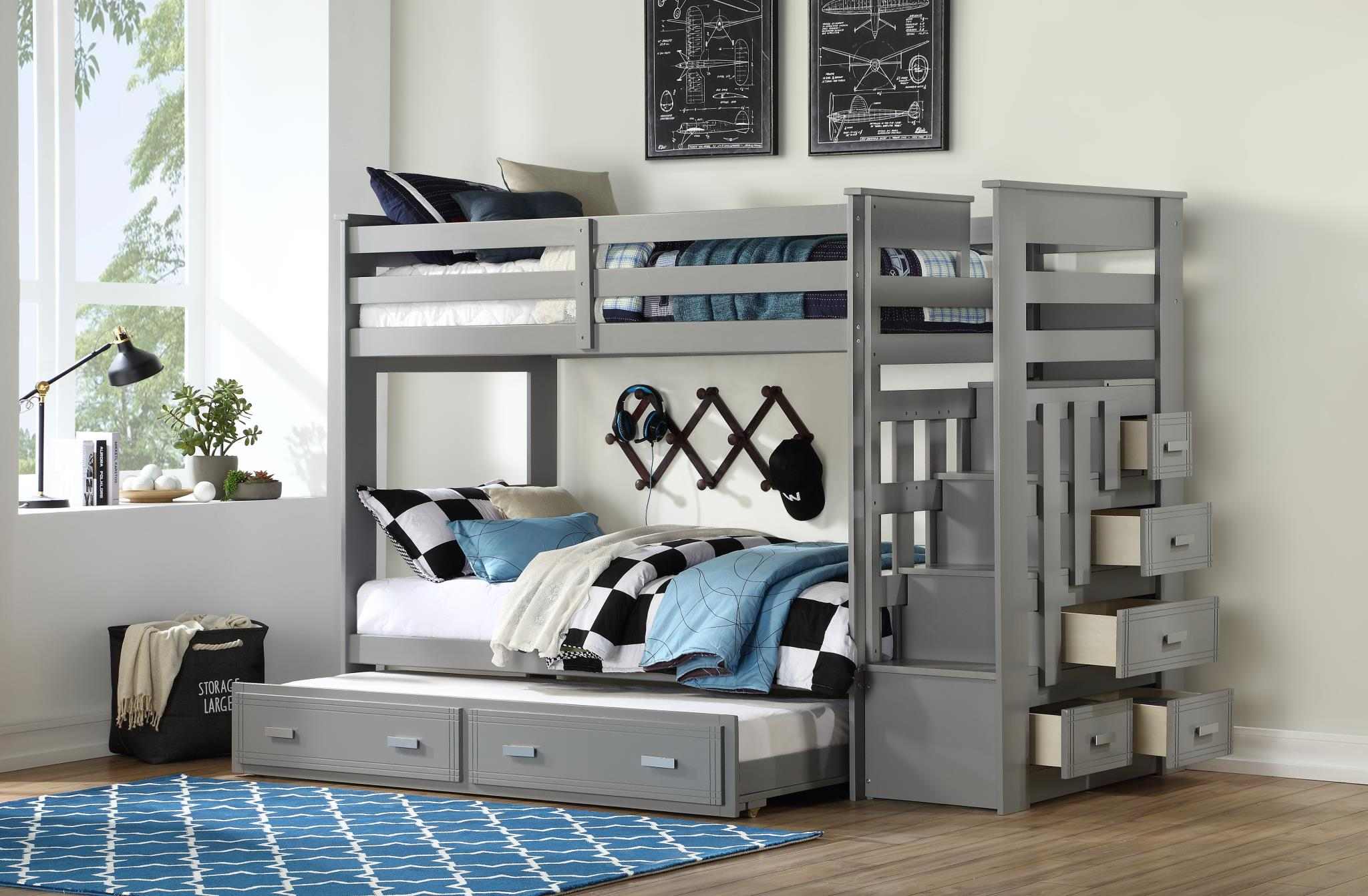 Image Result For Bed Built Over Stair Box: Georgetown Twin Over Twin Bunk Bed W/ Stairs In Grey