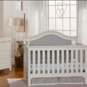Karisma Upholstered Convertible Crib in White
