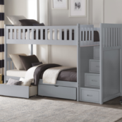 Belden Twin over Twin Bunk Bed with Staircase and Underbed Storage in Grey