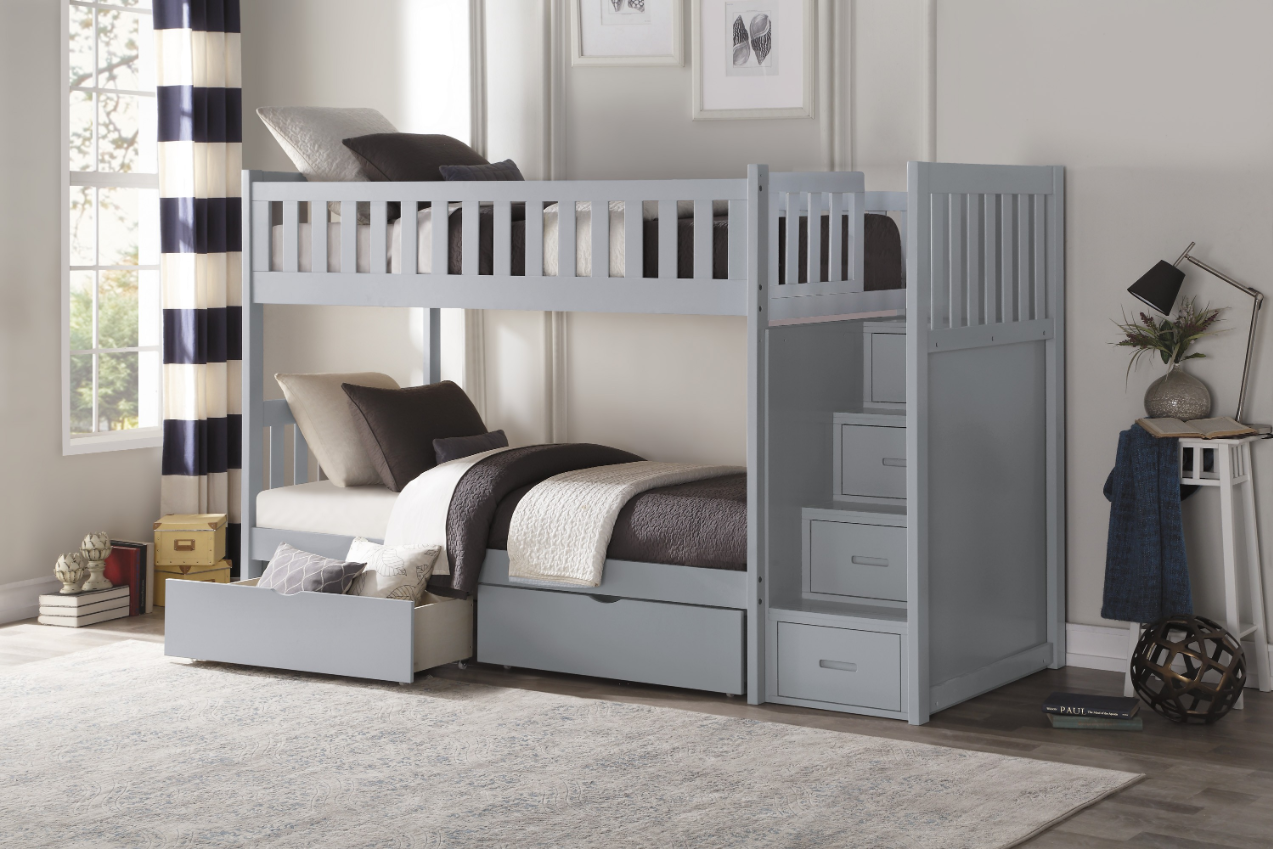 Picture of: Belden Twin Over Twin Bunk Bed Grey White Natural Dark Cherry Kids Furniture In Los Angeles