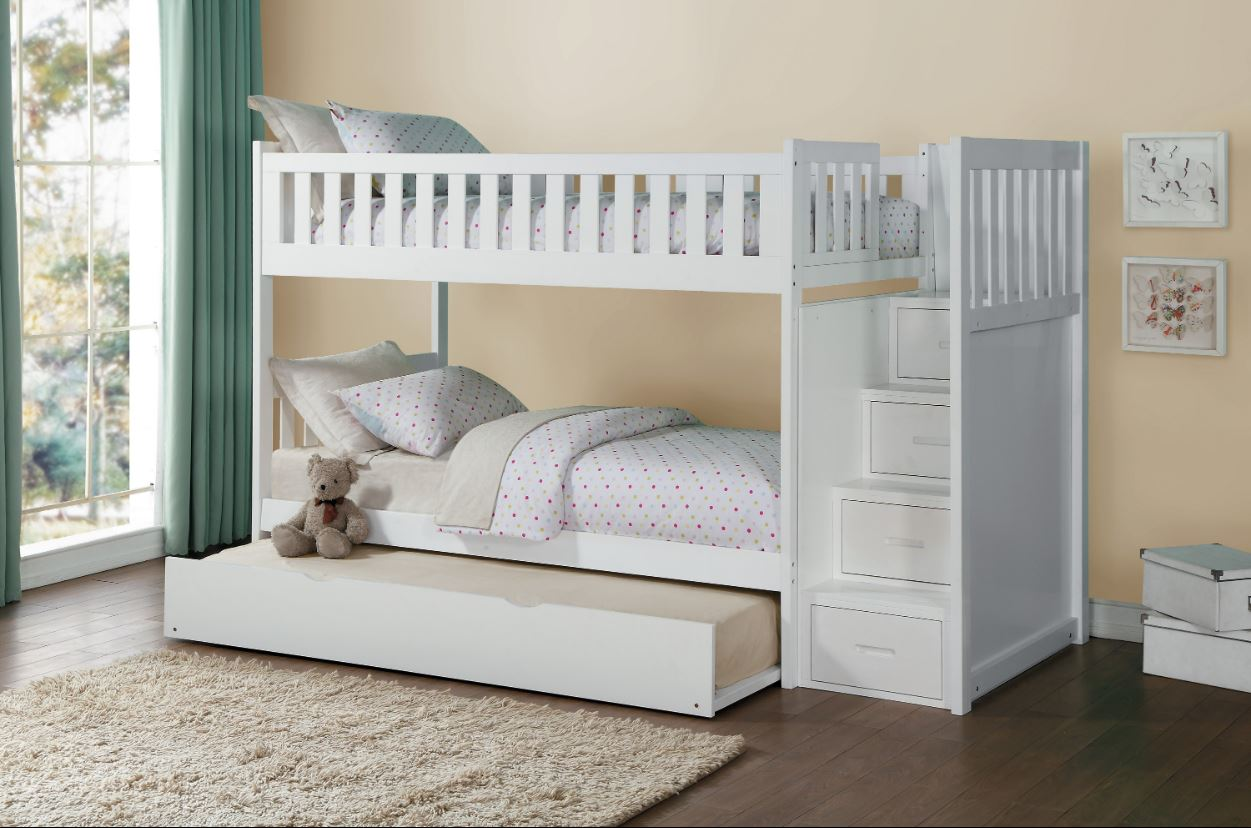 Belden Twin Over Twin Bunk Bed Grey White Natural Dark