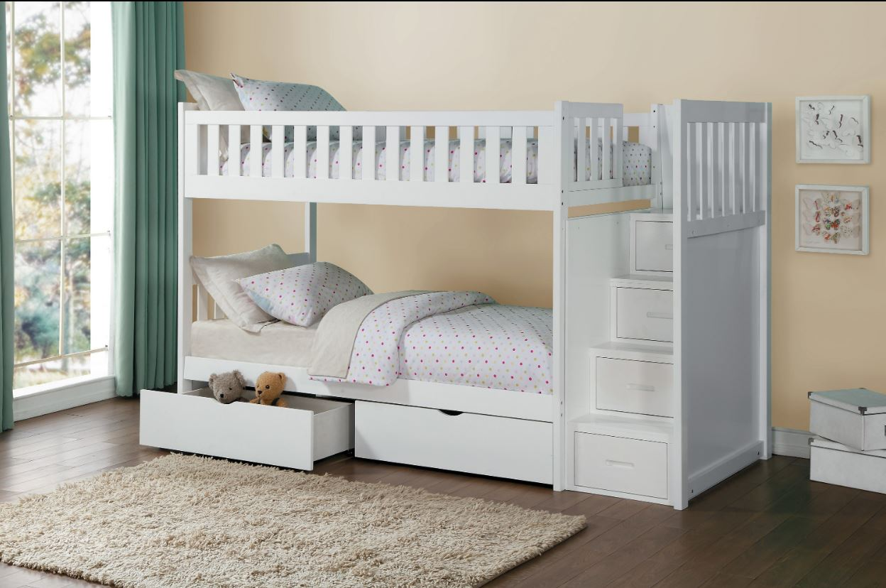 Belden Twin Over Twin Bunk Bed Grey White Natural Dark Cherry Kids Furniture In Los Angeles