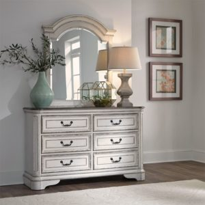 Le Grand 6 Drawer Dresser with Mirror in Antique White