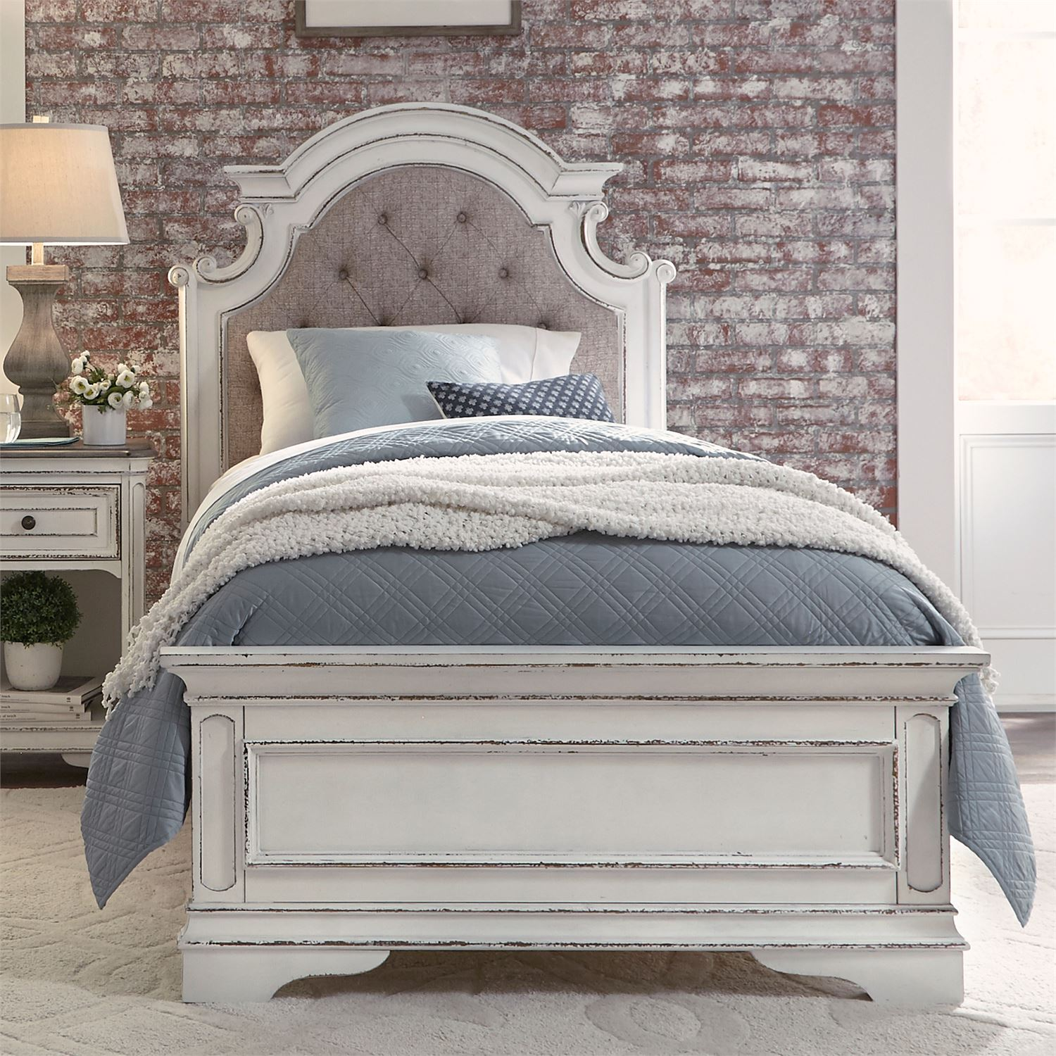 Le Grand Twin Size Upholstered Bed In Antique White