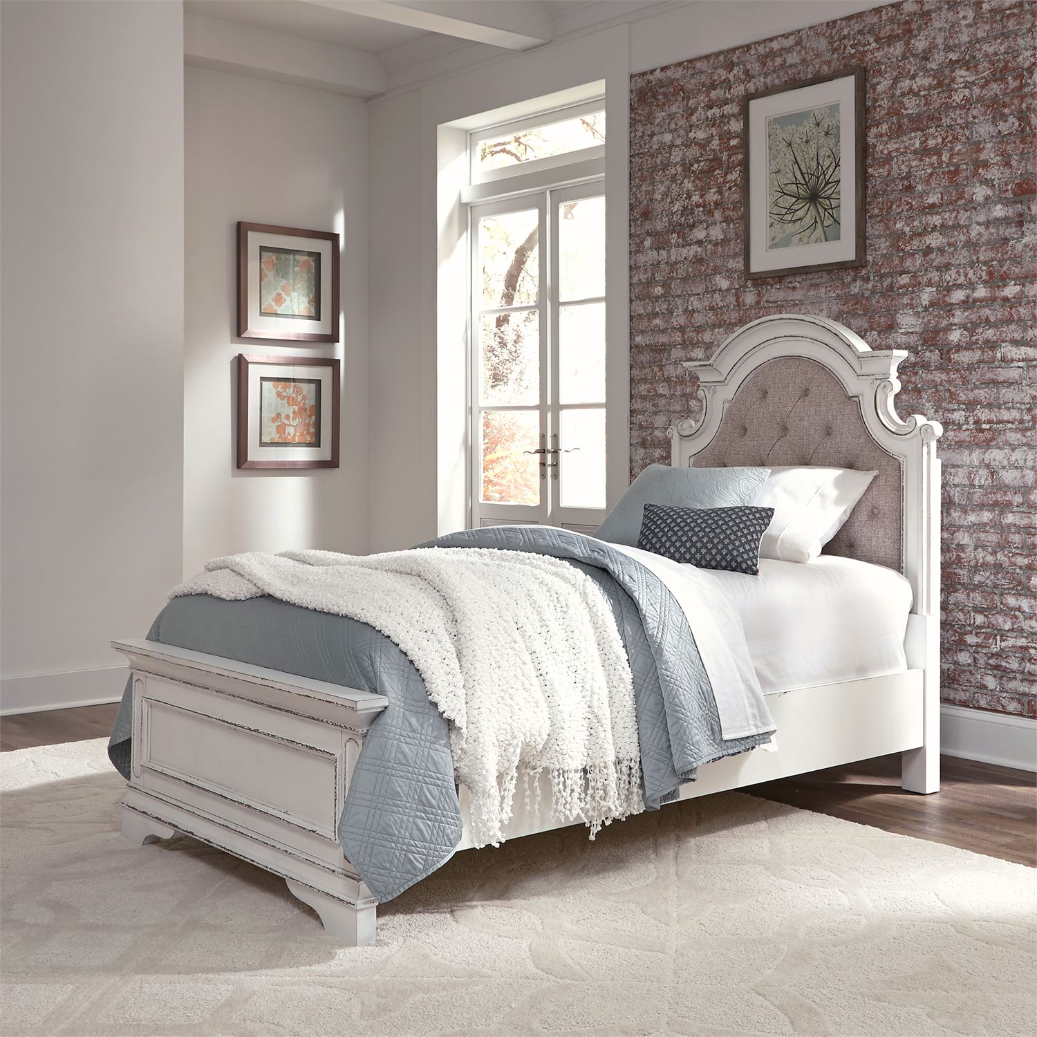 Le Grand Twin Size Upholstered Bed In Antique White Kids