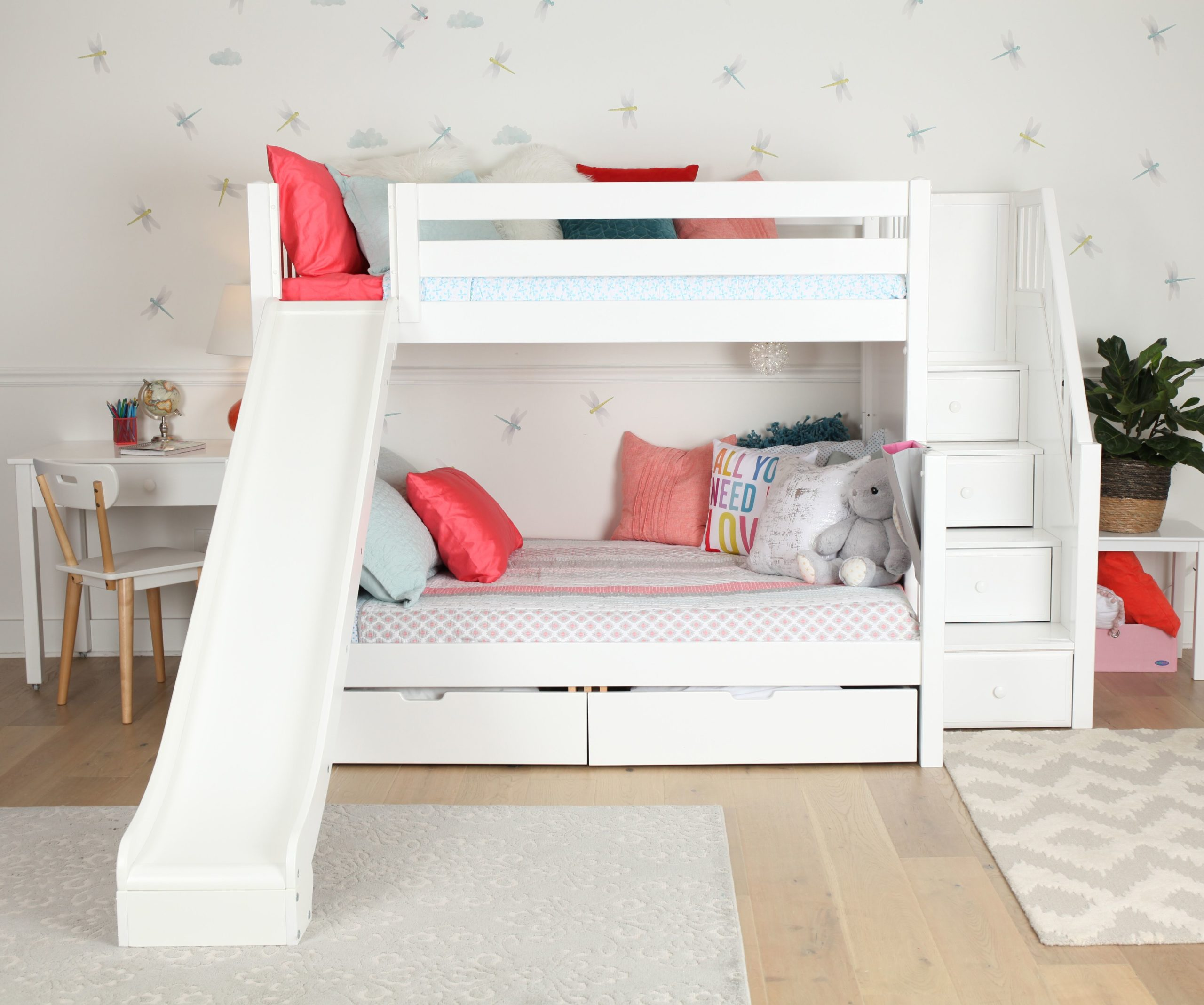 Picture of: Maxtrix Twin Over Full Staircase Bunk Bed With Slide White Natural And Chestnut Kids Furniture In Los Angeles