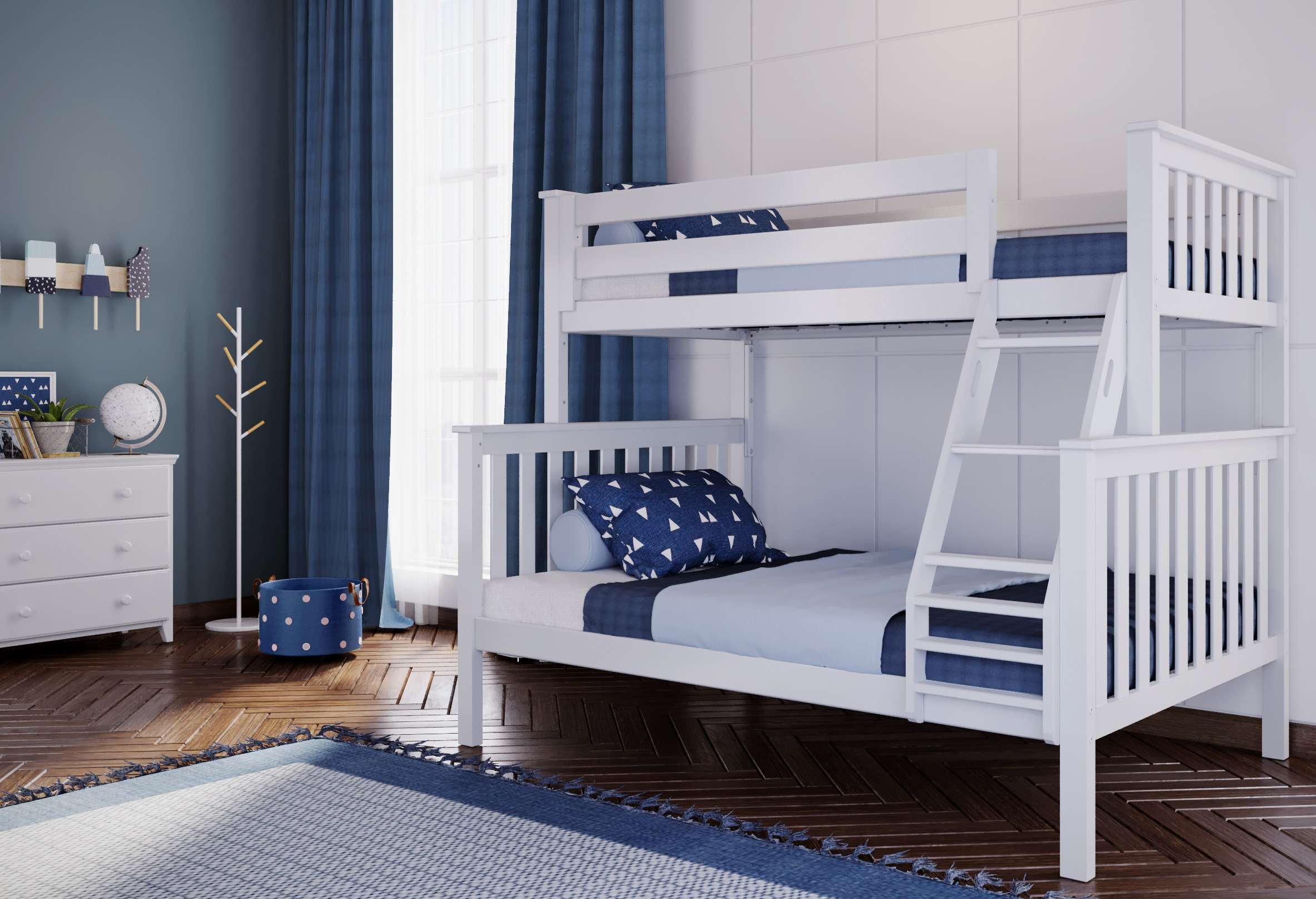 Jackpot Kent Twin Full Bunk Bed In White Kids Furniture In Los Angeles