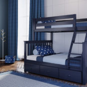 jackpot kent twin full bunk bed blue with trundle