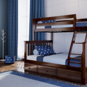 jackpot kent twin full bunk bed espresso with trundle