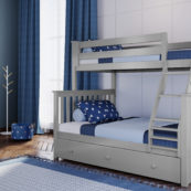 jackpot kent twin full bunk bed in grey with trundle