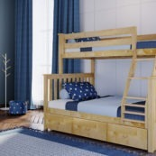 jackpot kent twin full bunk bed in natrual with trundle