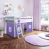 jackpot york loft bed white with purple tent
