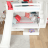 maxtrix white bunk bed with slide and two drawers